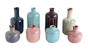 Set of 8 Multicolor Stoneware Vases, , large