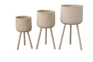 Set of 3 Round Bamboo Floor Baskets with Wood Legs, , large
