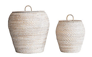 Whitewashed Rattan Baskets with Lids (Set of 2 Sizes), , rollover