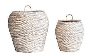 Whitewashed Rattan Baskets with Lids (Set of 2 Sizes), , large