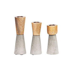 Brown Wood and Grey Cement Candleholders (Set of 3 Sizes), , rollover