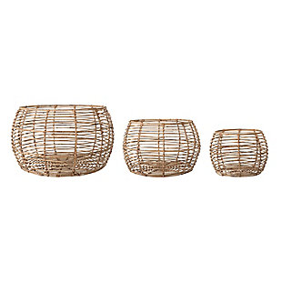 Beige Open Weave Rattan Baskets (Set of 3 Sizes), , large