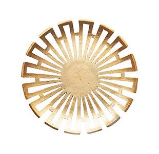 Round Gold Decorative Aluminum Platter, , large