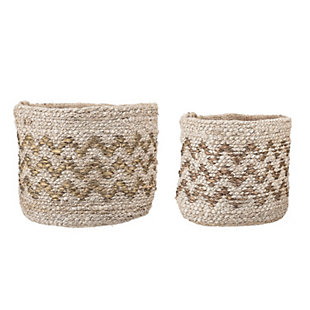 Hand Braided Jute Baskets with Gold Chevron Pattern (Set of 2 Sizes), , rollover