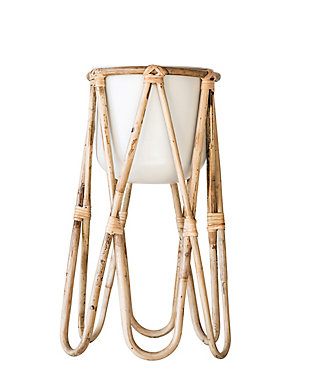 Off-White Metal Planter with Raised Bamboo Stand (Set of 2 Pieces), , large