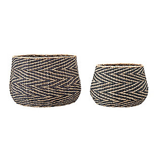 Handwoven Black and Natural Chevron Patterned Seagrass Baskets (Set of 2 Sizes), , large