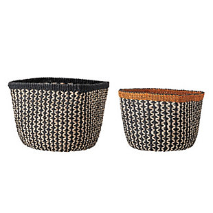 "14"" and 16"" Handwoven Abaca Baskets (Set of 2 Sizes/Colors), , large"