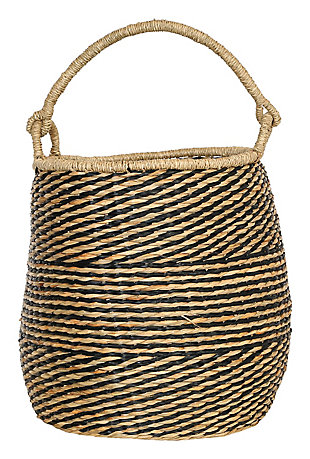 "21.25""H Handwoven Seagrass Basket with Handle, , large"