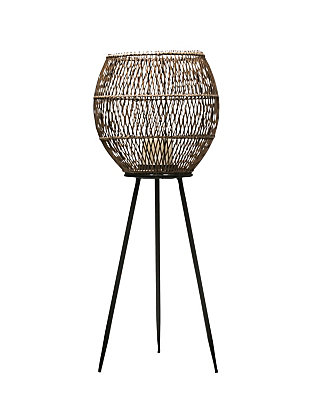 """32.25""""H Handwoven Bamboo and Rattan Lantern with Glass Insert and Tripod Metal Legs, , large"""