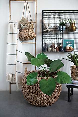 """16"""" and 20.5"""" Round Woven Water Hyacinth Baskets with Handles (Set of 2 Sizes), , rollover"""