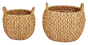 """16"""" and 20.5"""" Round Woven Water Hyacinth Baskets with Handles (Set of 2 Sizes), , large"""