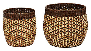 """16""""H and 20""""H Handwoven Pandan and Rattan Baskets (Set of 2 Sizes), , large"""