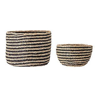 Handwoven Striped Seagrass Baskets (Set of 2 Sizes), , rollover