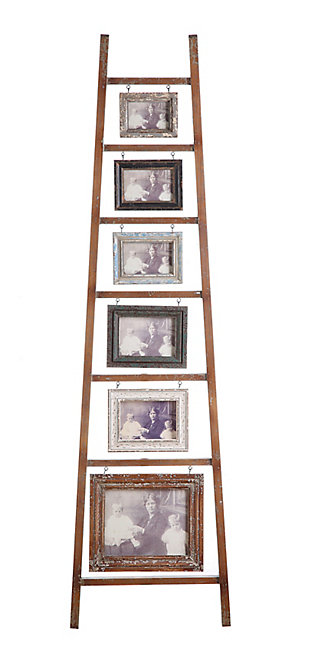 Decorative Wood Ladder with 6 Hanging Photo Frames, , rollover