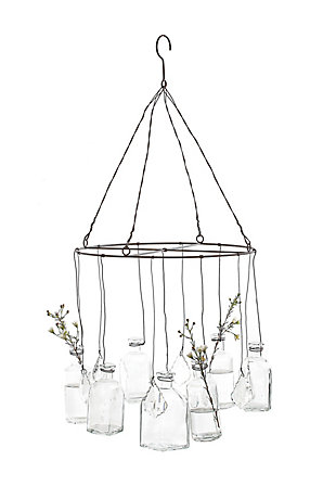 Hanging Glass Vases with Crystals, , rollover
