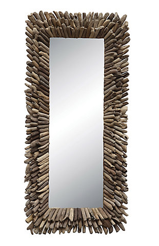 Large Rectangle Driftwood Framed Mirror, , large