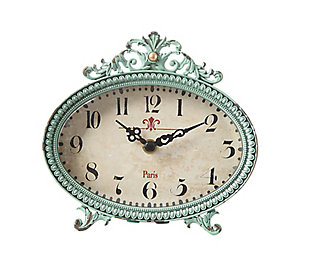 Green Antiqued Pewter Mantel Clock, , large