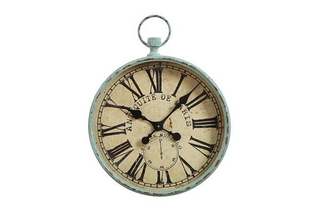 """Home Accents Metal """"Antiquite De Paris"""" Aqua Pocket Watch Wall Clock, , large"""