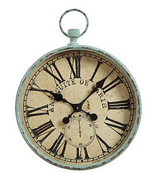 "Home Accents Metal ""Antiquite De Paris"" Aqua Pocket Watch Wall Clock, , large"