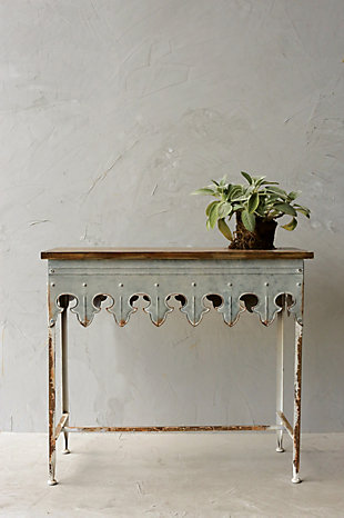 Home Accents Metal Scalloped Edge Table with Zinc Finish and Wood Top, , rollover