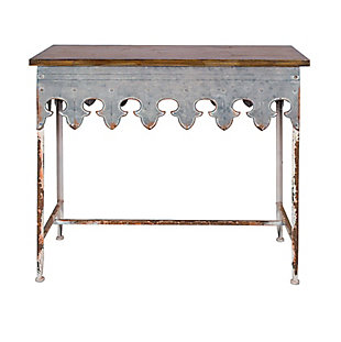 Home Accents Metal Scalloped Edge Table with Zinc Finish and Wood Top, , large