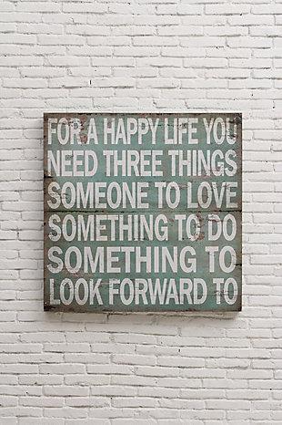 "Home Accents ""For A Happy Life ..."" Aqua Color Wood Wall Decor, , rollover"