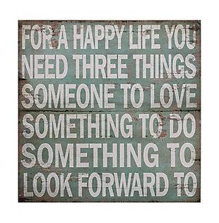 "Home Accents ""For A Happy Life ..."" Aqua Color Wood Wall Decor, , large"