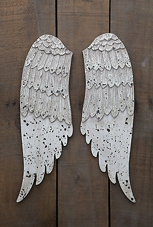 Home Accents Small Decorative Angel Wings in Distressed Grey, , rollover