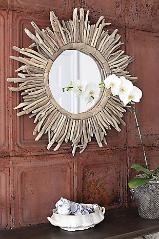 Home Accents Driftwood Sunburst Mirror, , rollover