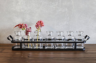 7 Glass Bottles on Rectangle Metal Tray with Handles (Set of 8 Pieces), , rollover