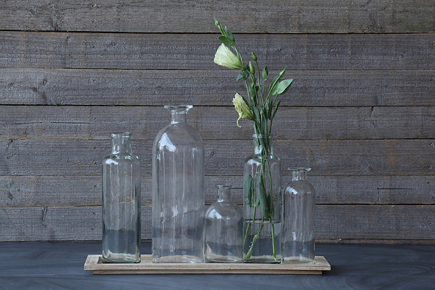 Set of 5 Vintage Bottle Vases on Wood Tray, , large