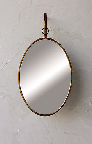 Home Accents Oval Wall Mirror with Distressed Metal Frame and Hanging Bracket (Set of 2 Pieces), , rollover
