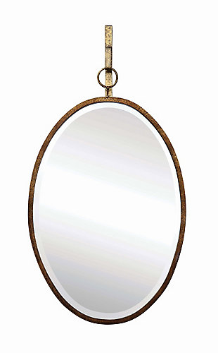 Home Accents Oval Wall Mirror with Distressed Metal Frame and Hanging Bracket (Set of 2 Pieces), , large