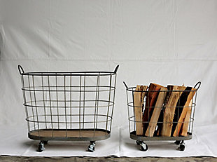 Metal and Wood Laundry Baskets on Wheels (Set of 2 Sizes), , rollover