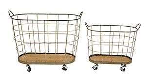Metal and Wood Laundry Baskets on Wheels (Set of 2 Sizes), , large