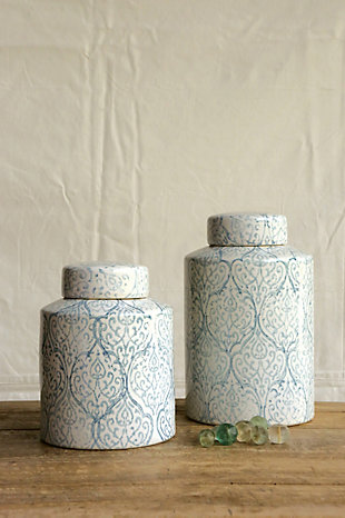 Blue and White Decorative Ginger Jar with Lid, , rollover