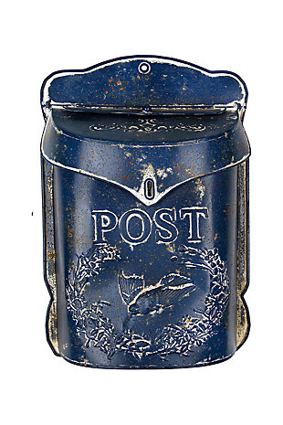 "Navy Embossed Tin ""Post"" Letter Box, , large"
