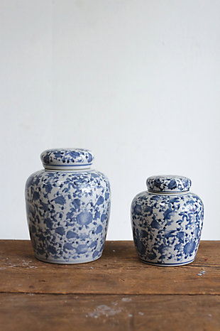 Decorative Blue and White Ceramic Ginger Jar with Lid, , rollover