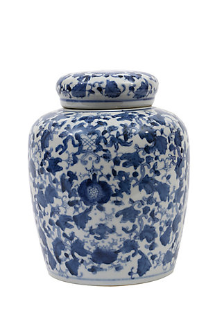 Decorative Blue and White Ceramic Ginger Jar with Lid, , large
