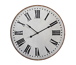 Home Accents White Classic Round Metal Wall Clock, , rollover