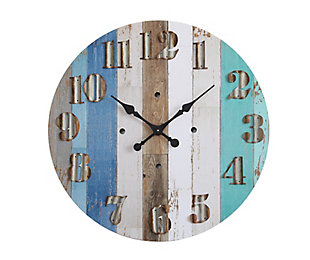 Multicolor Wood Wall Clock with Corrugated Metal Numbers, , rollover