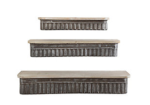 Home Accents Metal and Wood Wall Shelves (Set of 3 Sizes), , rollover