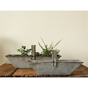 Set of 2 Rectangle Distressed Metal Baskets with Handles, , rollover