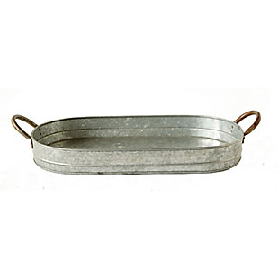 Oval Galvanized Metal Tray with Handles, , large