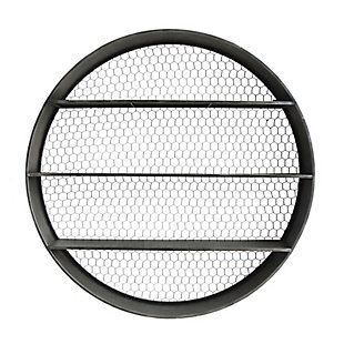Round Metal Wall Decor with 4 Shelves and Wire Back, , large