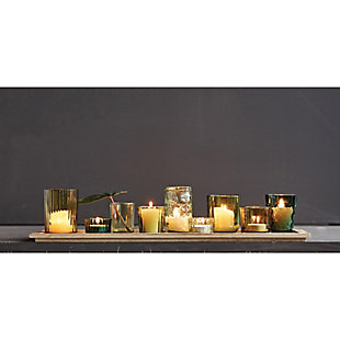 Wood Tray with 9 Green Glass Votive Holders (Set of 10 Pieces), , rollover