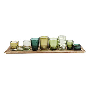 Wood Tray with 9 Green Glass Votive Holders (Set of 10 Pieces), , large