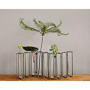 9 Test Tube Glass Vases in Black Metal Stand, , rollover