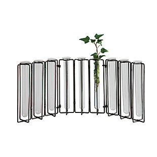 9 Test Tube Glass Vases in Black Metal Stand, , large