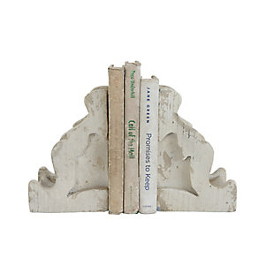 Distressed White Corbel Shaped Bookends (Set of 2 Pieces), , large